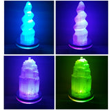 Small Selenite Towers w/LED Multi-colored Stand