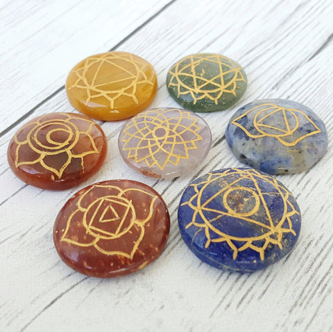 7 Chakra Engraved Gemstone Set