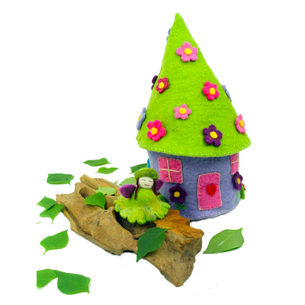 Eco-friendly fairy and fairy castle handmade with wool