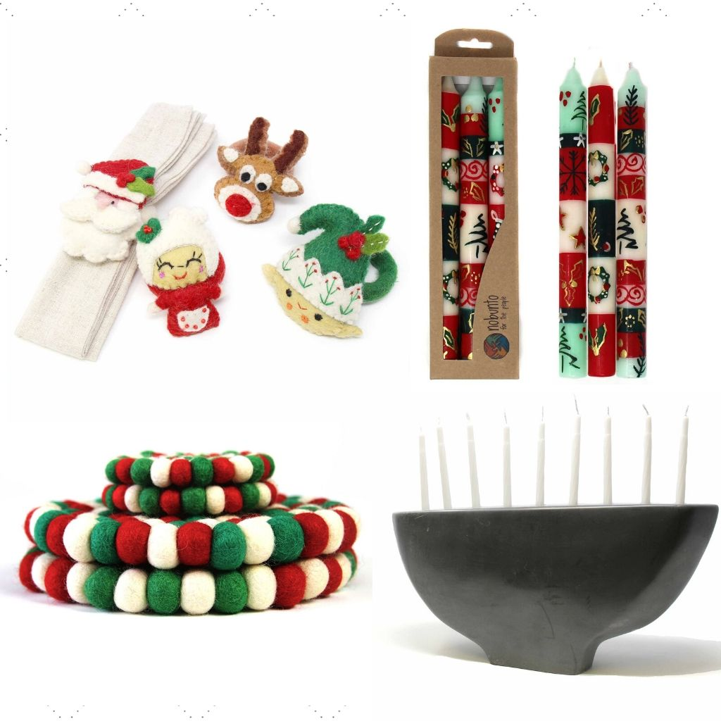 Assortment of Fair Trade Holiday Home productsincluding christmas napkin rings, hand-painted Christmas candles, Christmas Trivet and Coasters, and a Black stone carved menorah.