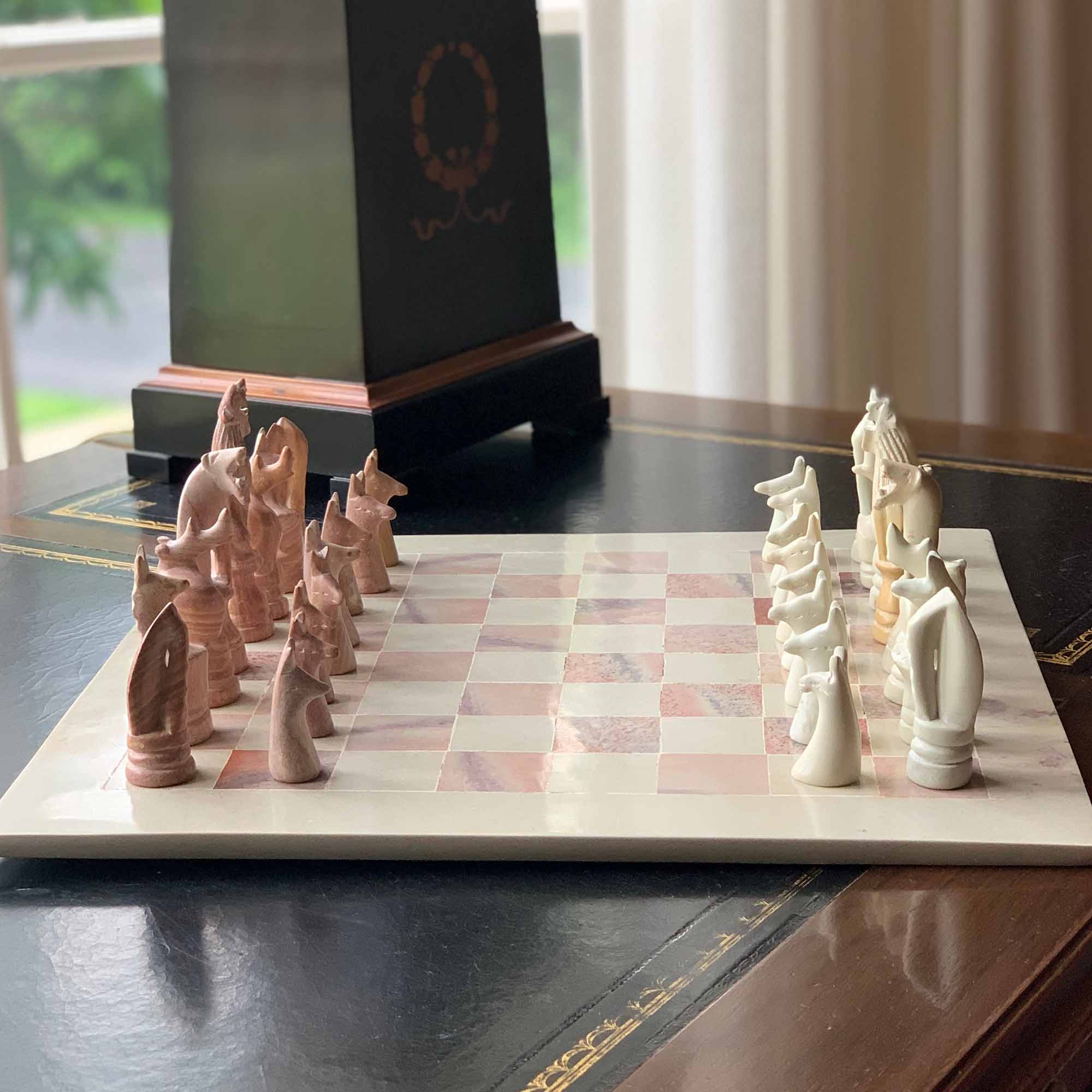 Handcarved Chess Set in Soapstone from Kisii Kenya