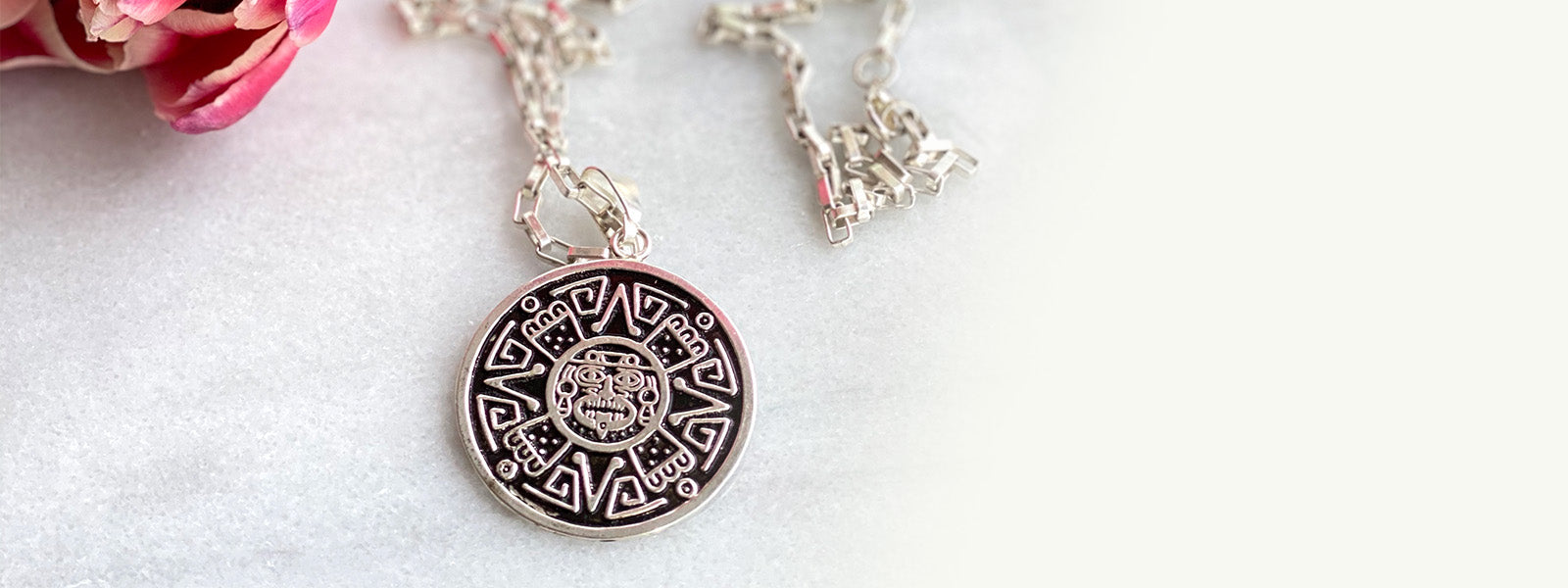 Taxco silver aztec pendant necklace