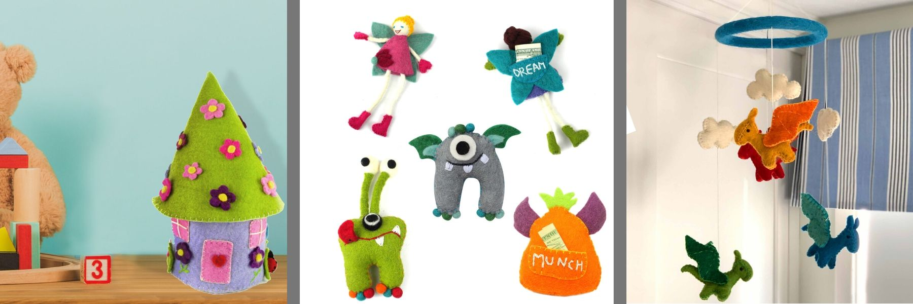 Fair Trade Wholesale Kids Collection of Felt Dragon Mobile, Tooth Pillows in Fairy and Monster Designs with pouch for the tooth and money, and felt fairy castle on a kids dresser.