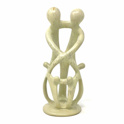 Natural 8-inch Tall Soapstone Family Sculpture - 2 Parents 4 Children