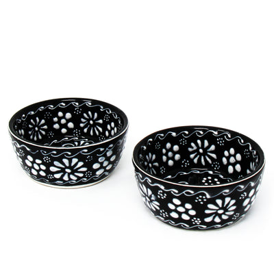 Encantada Handmade Pottery Appetizer & Dip Bowls, Ink (Set of 2)