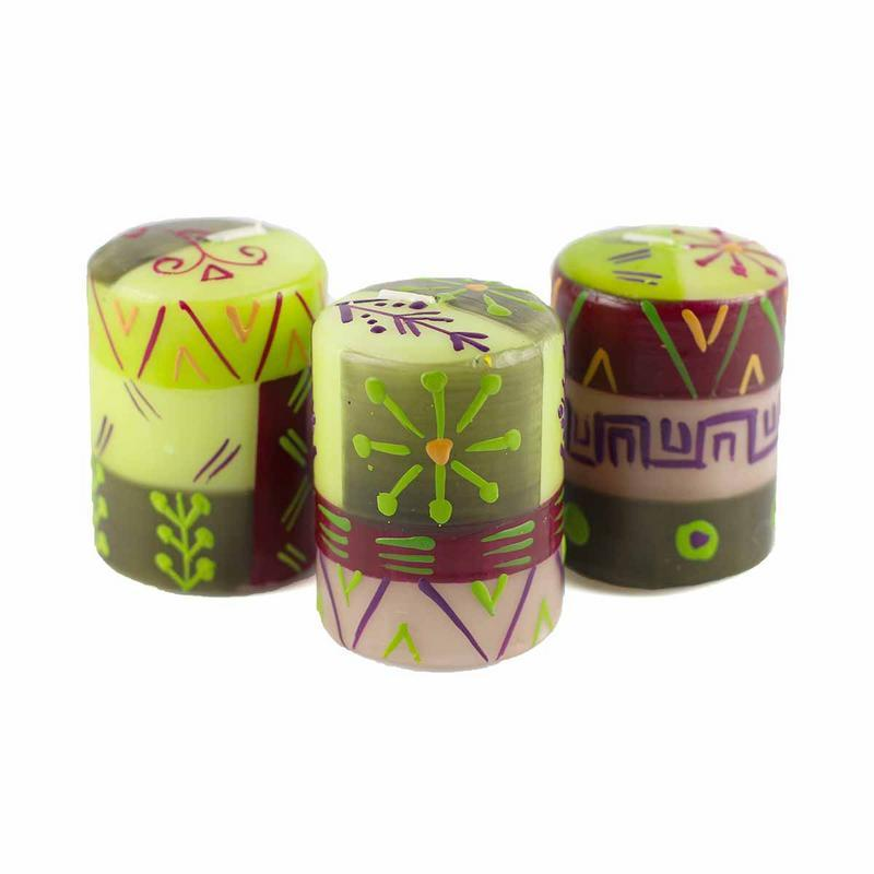 "Hand Painted Candles in ""Kileo"" Design (box of three)"
