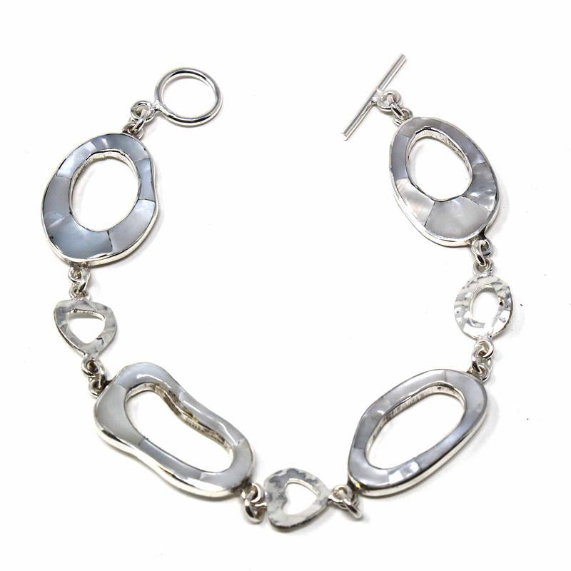 Mexican Taxco Silver Bracelet, Mother-of-Pearl Rings