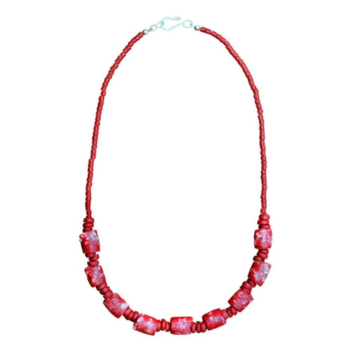 Recycled Glass Marble Necklace in Poppy
