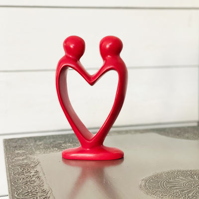 Soapstone Lovers Heart Red - 8 Inch