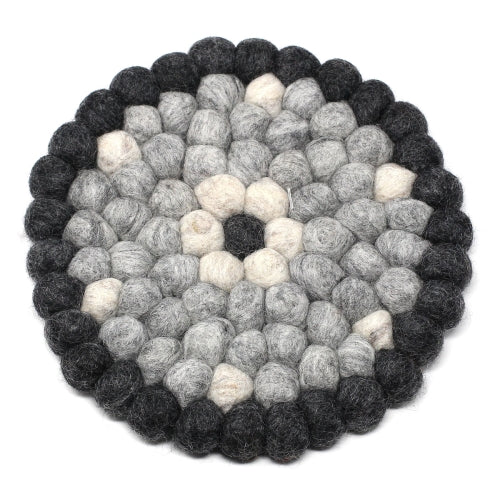 Hand Crafted Felt Ball Trivets from Nepal: Round Flower Design, Black/Grey
