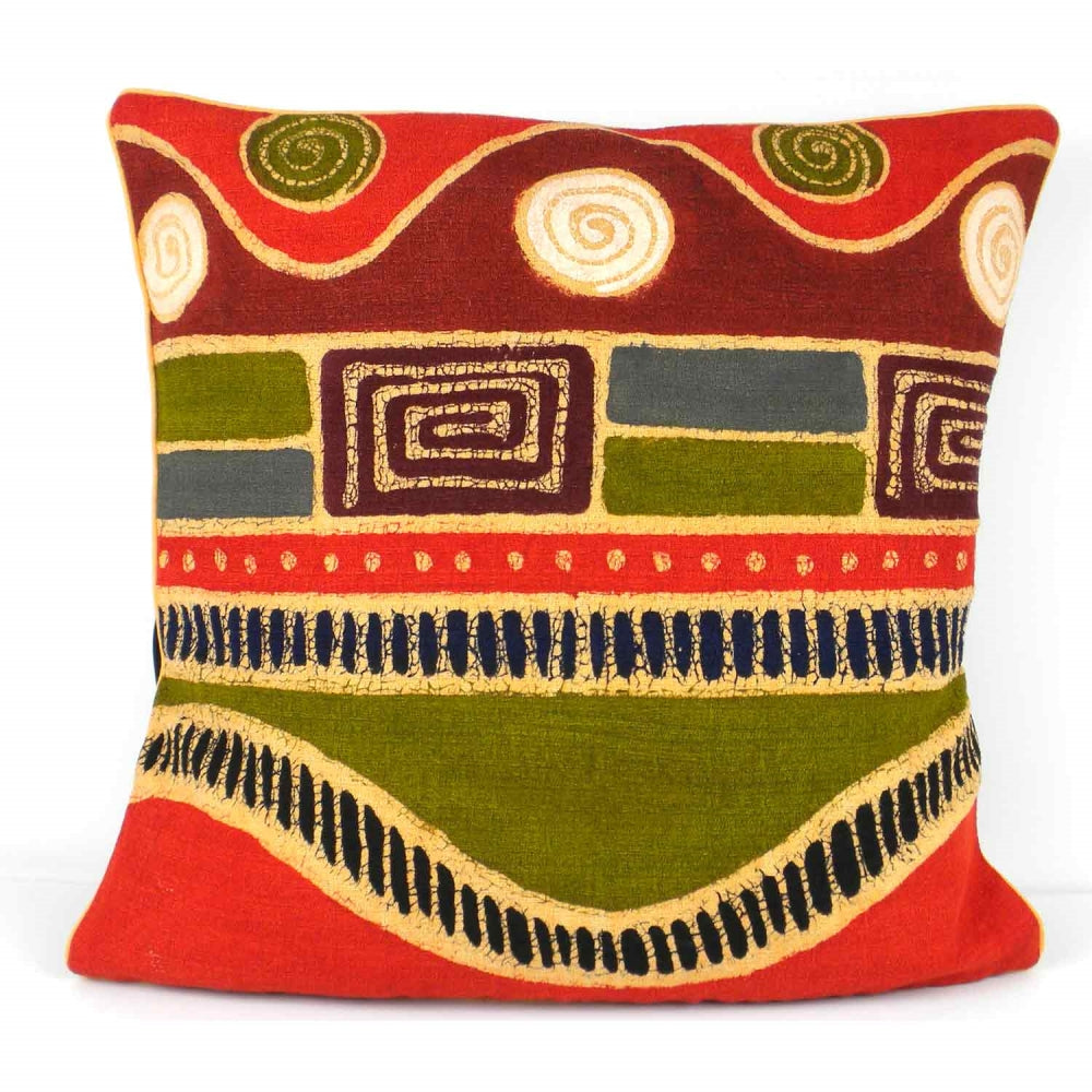 Handmade Geometric Wave Batik Cushion Cover
