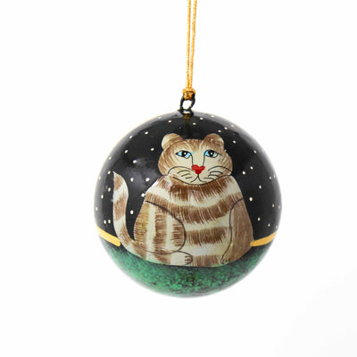 Handpainted Cat Ornaments, Set of 2