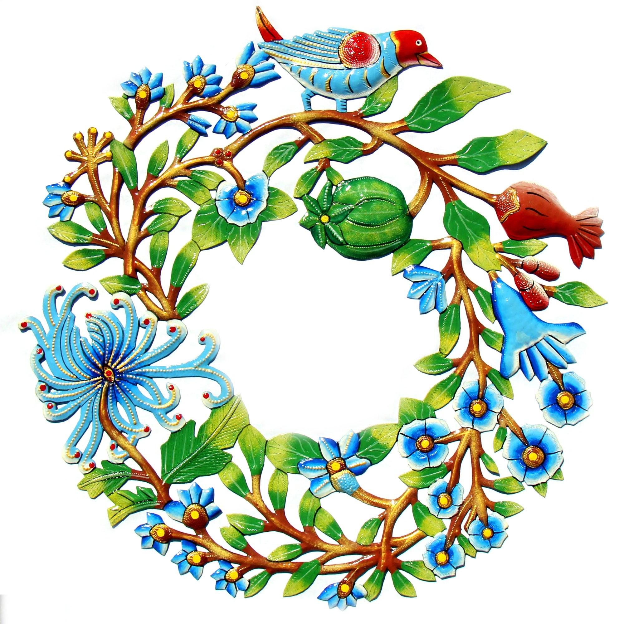 Door Wreath with Bird Painted Haitian Metal Drum Wall Art, 22""