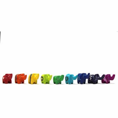 Soapstone Tiny Elephants - Assorted Pack of 5 Colors
