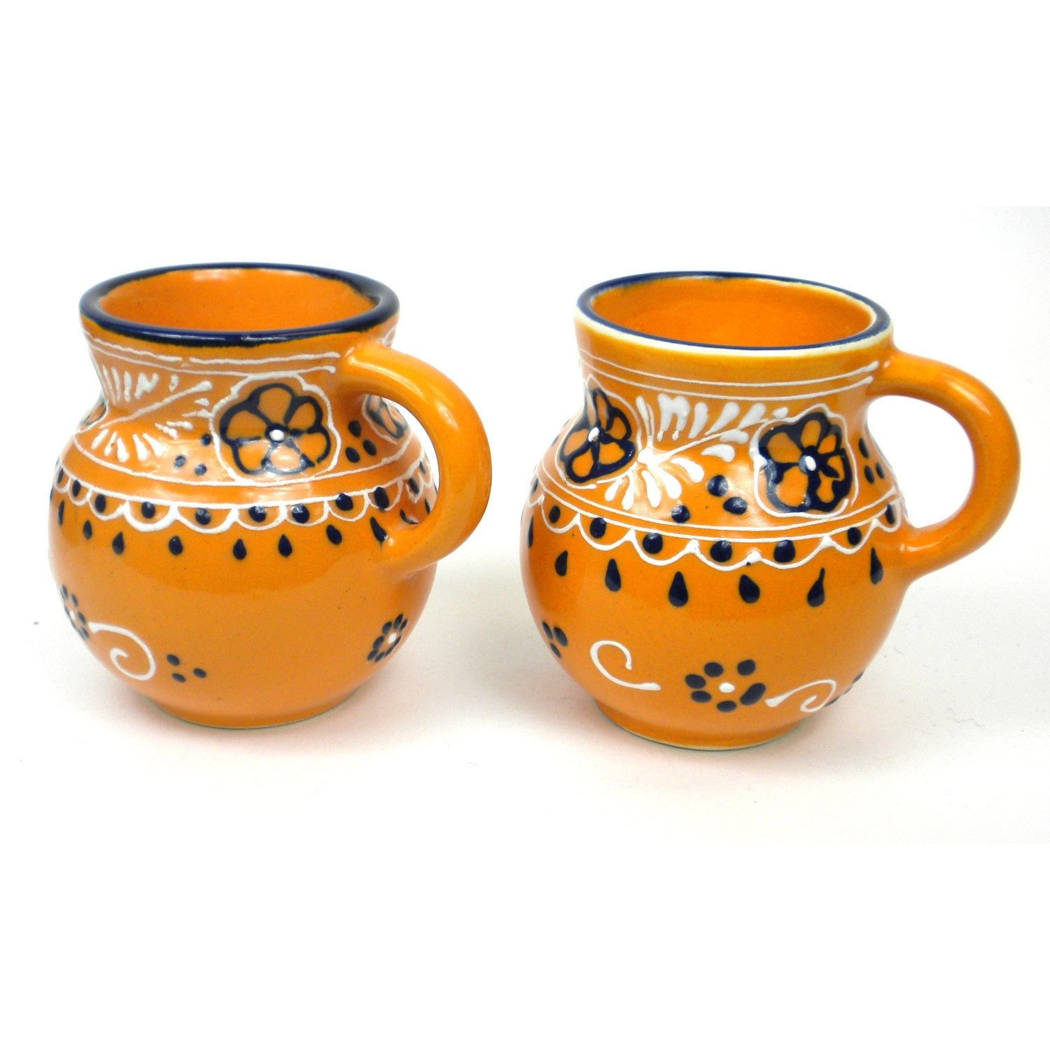 Encantada Handmade Pottery, Set of 2 Mugs, Mango - 12 oz.