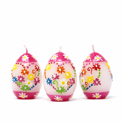 Unscented Hand-Painted Unscented Oval Votive Candles, Boxed Set of 3 (Mamako Design)