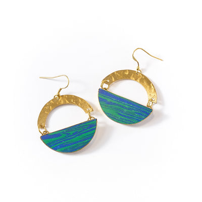 Ria Earrings - Blue Green Swirl