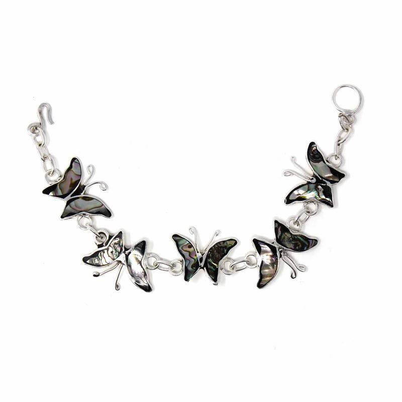 Mexican Taxco Silver Bracelet, Abalone Butterflies