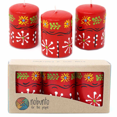 Unscented Hand-Painted Red Votive Candles, Boxed Set of 3 (Masika Design)