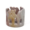 Circle of Elephants Soapstone Sculpture, 3 to 3.5-inch - Light Natural Stone