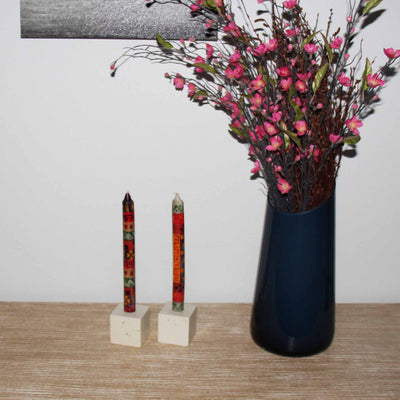 Tall Hand Painted Candles - Pair -Indaeuko Design