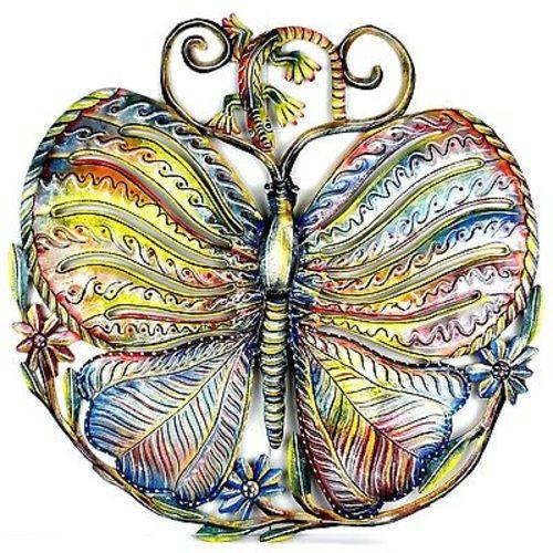 24-Inch Painted Butterfly and Gecko Metal Wall Art