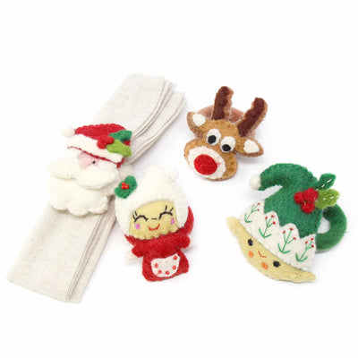 Hand Felted Christmas Napkin Rings, Set of Four