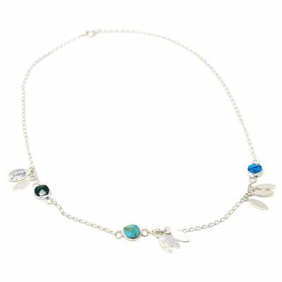 Mexican Taxco Alpaca Silver Feathers & Turquoise Charm Necklace