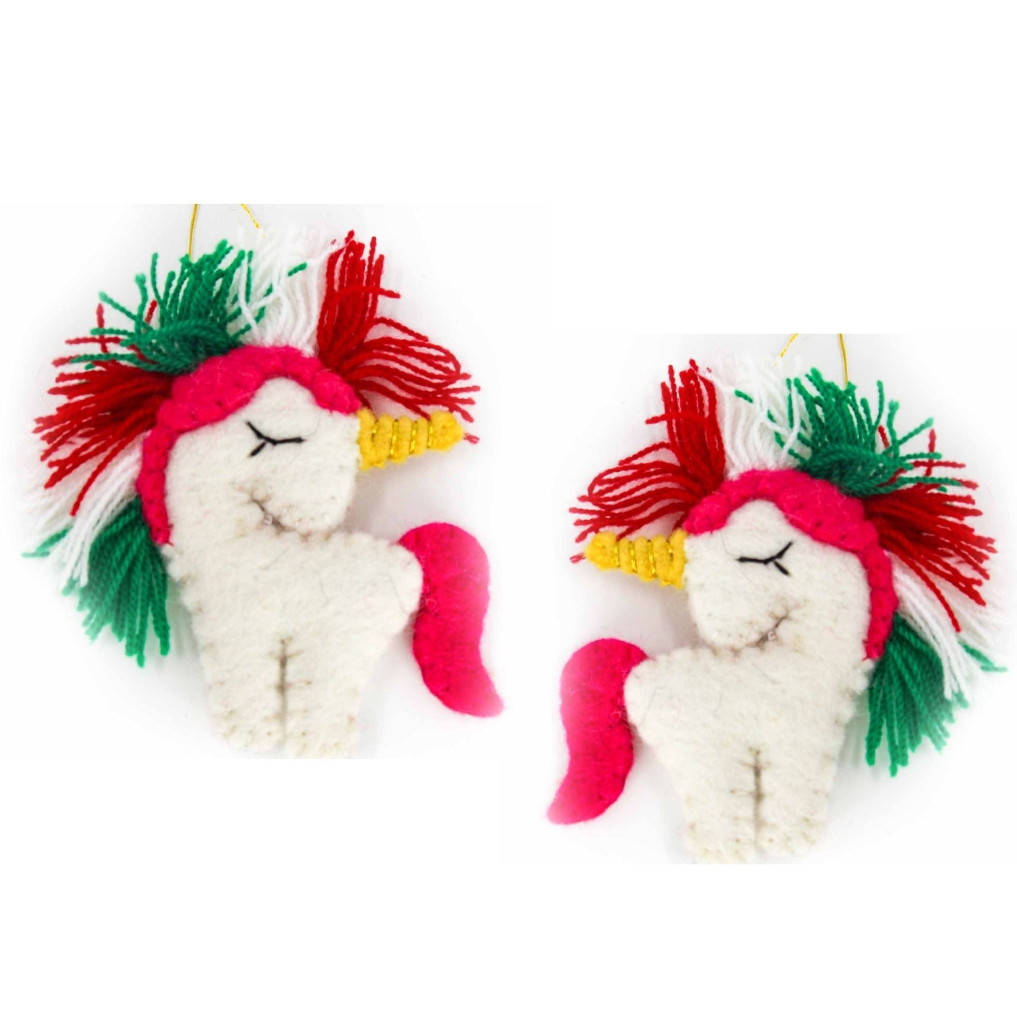 Christmas Unicorn Felt Ornament, Set of 2