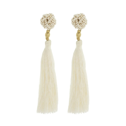 The Rosette Tassel Earring, Cream