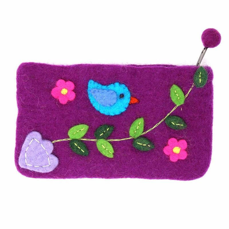 Handmade Felt Purple Bird Clutch