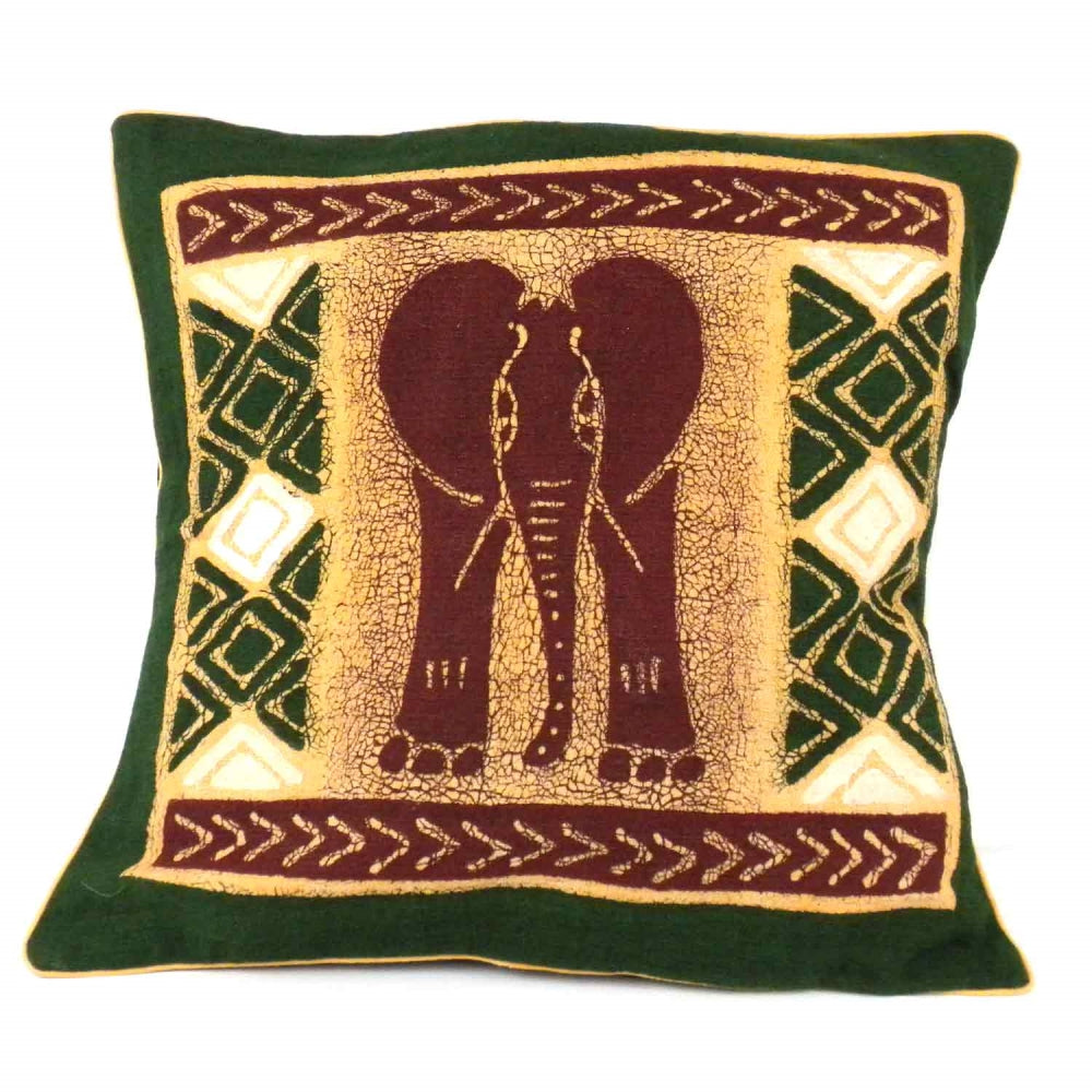 Handmade Green and Maroon Elephant Batik Cushion Cover