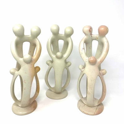 Natural Soapstone Family Sculpture - 2 Parents, 3 Children