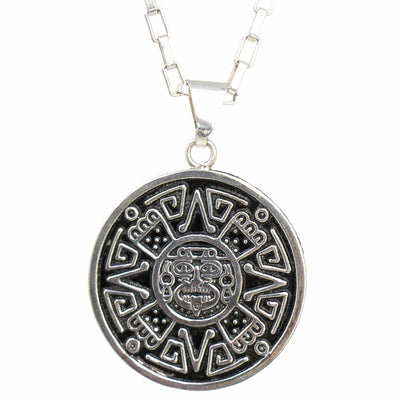 Alpaca Silver Aztec Face Pendant with Chain
