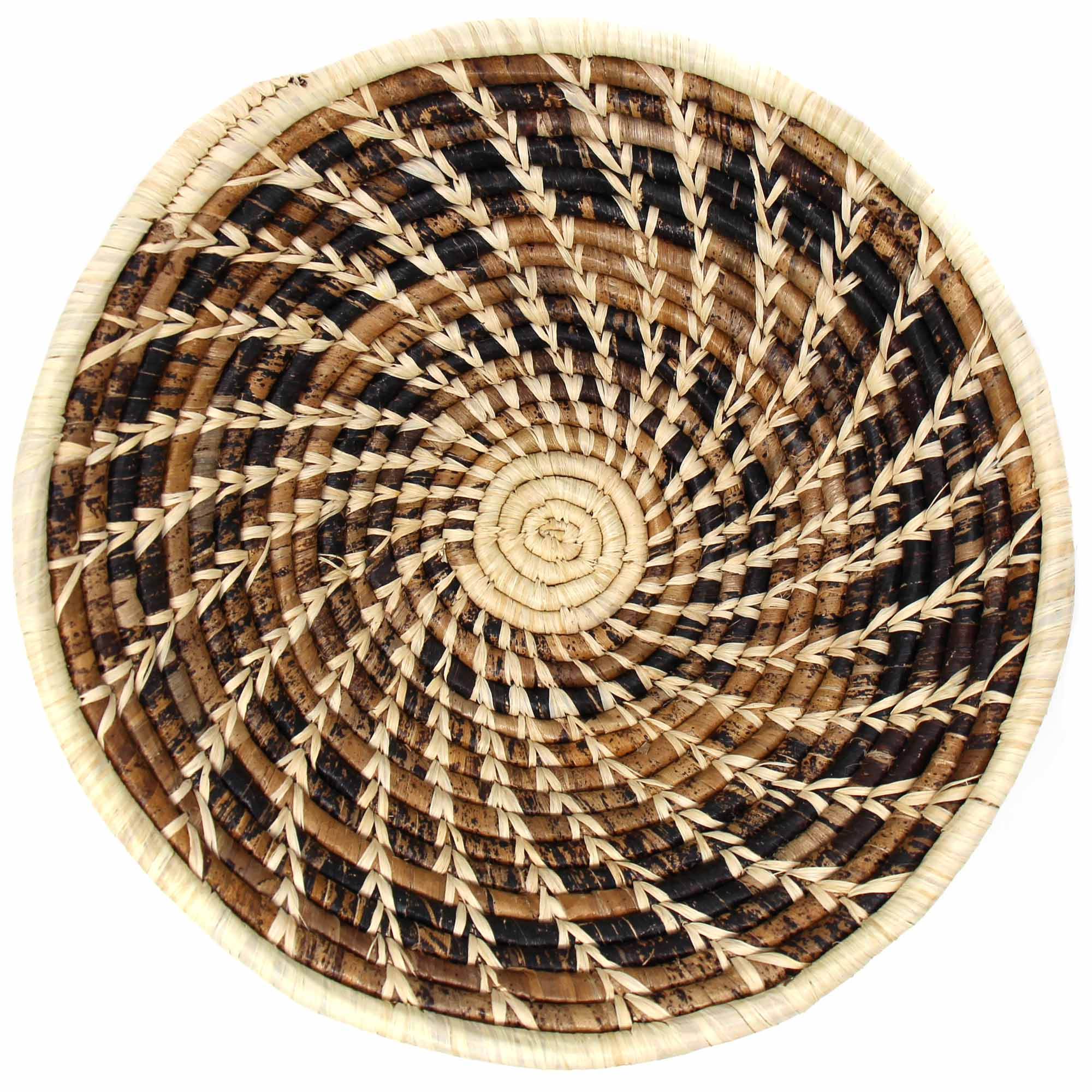 Woven Sisal Basket, Wheat Stalk Spirals In Natural