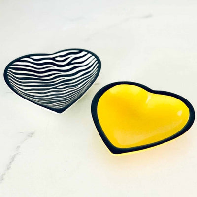 Soapstone Heart Bowl - Medium Zebra Pattern