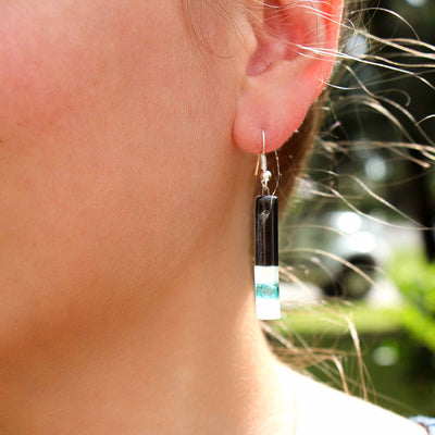 Long Rectangle Glass Dangle Earrings, Black Tie