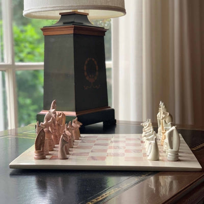 "Hand Carved Soapstone Animal Chess Set - 15"" Board"