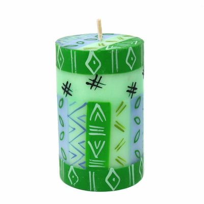 Unscented Hand-Painted Pillar Candle in Gift Box, 4-inch (Farih Design)
