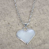 Corazon Blanco White Heart Pendant with Chain