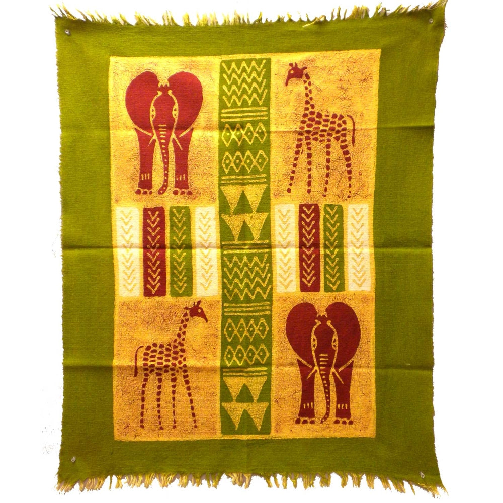 African Quad Batik in Green/Yellow/Red