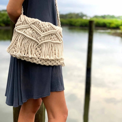 Handmade Boho Macrame Shoulder Bag, Cream with Fringe