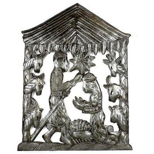 "CLEARANCE Christmas Nativity with Palm Trees Haitian Steel Drum, 10.5"" x 9"""
