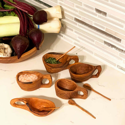 Reclaimed Olive Wood Salt Pot and Spoon