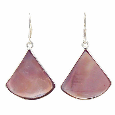 Raspberry Clam Shell Fan Drop Earrings
