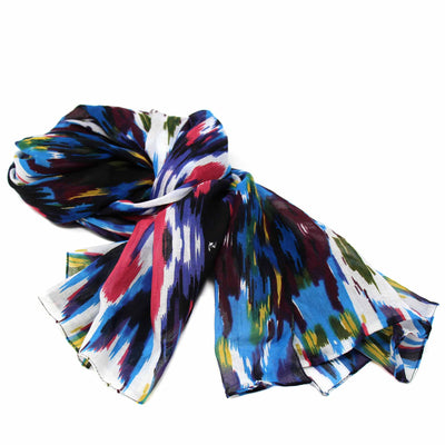 Hand-printed Cotton Scarf, Ikat Multicolr Design