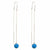 Sterling Silver Threader Chain Earring with Turquoise