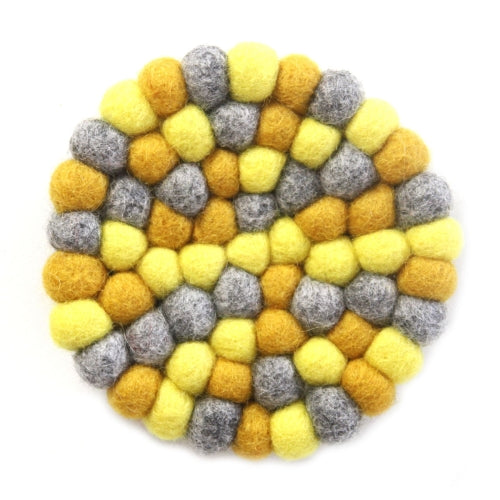 Hand Crafted Felt Ball Trivets from Nepal: Round Chakra, Yellows