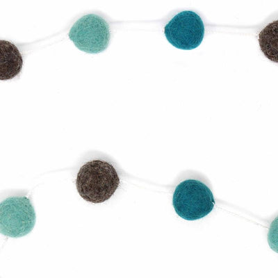 Hand Crafted Felt from Nepal: Pom Pom Garlands, Grey/Blue