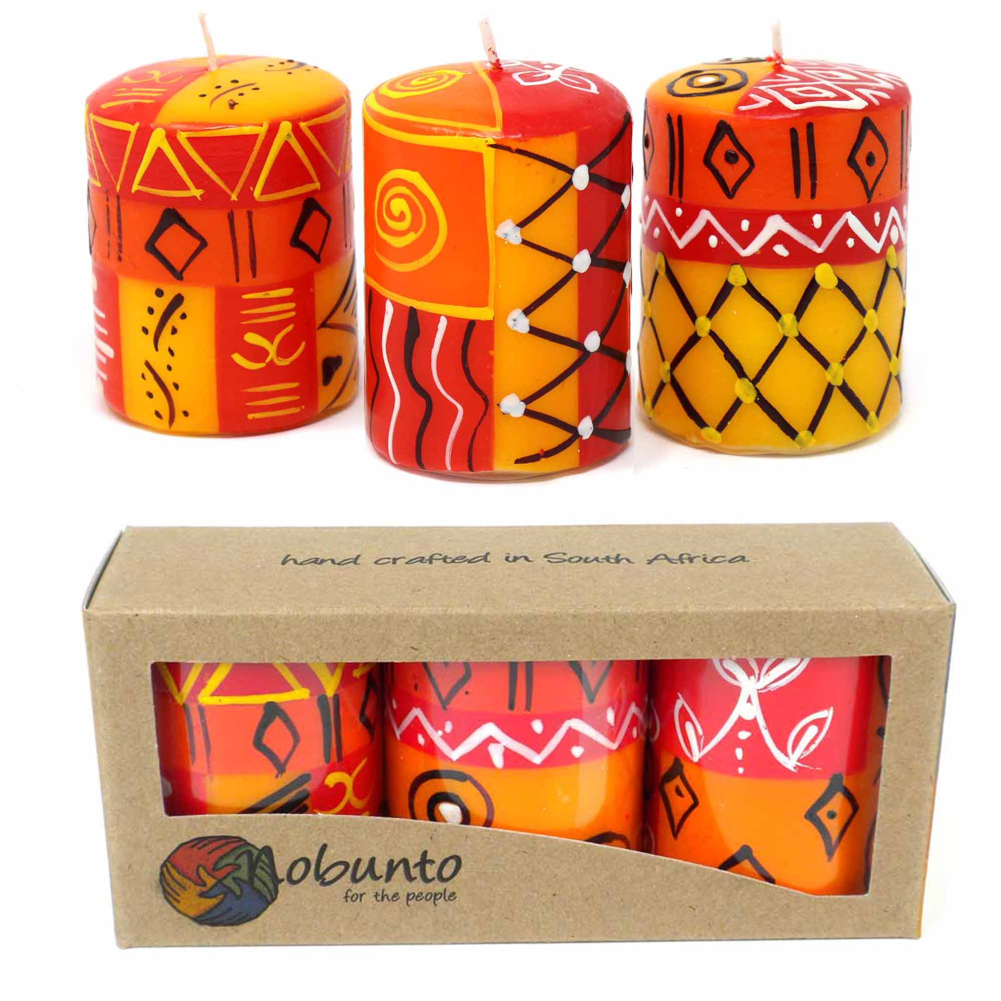 Unscented Hand-Painted Votive Candles, Boxed Set of 3 (Zahabu Design)